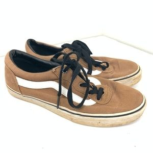 Brown Striped Canvas Sneaker Black Laced 6.5